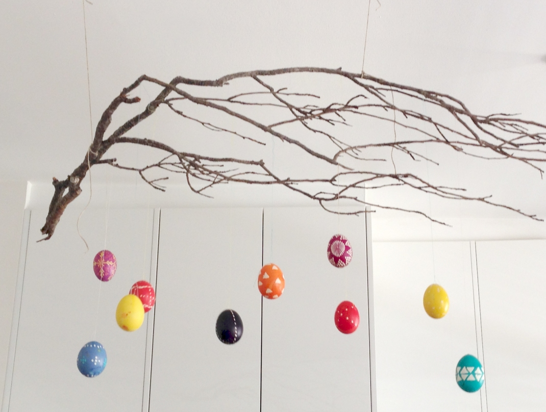 charlotte eats hanging easter eggs