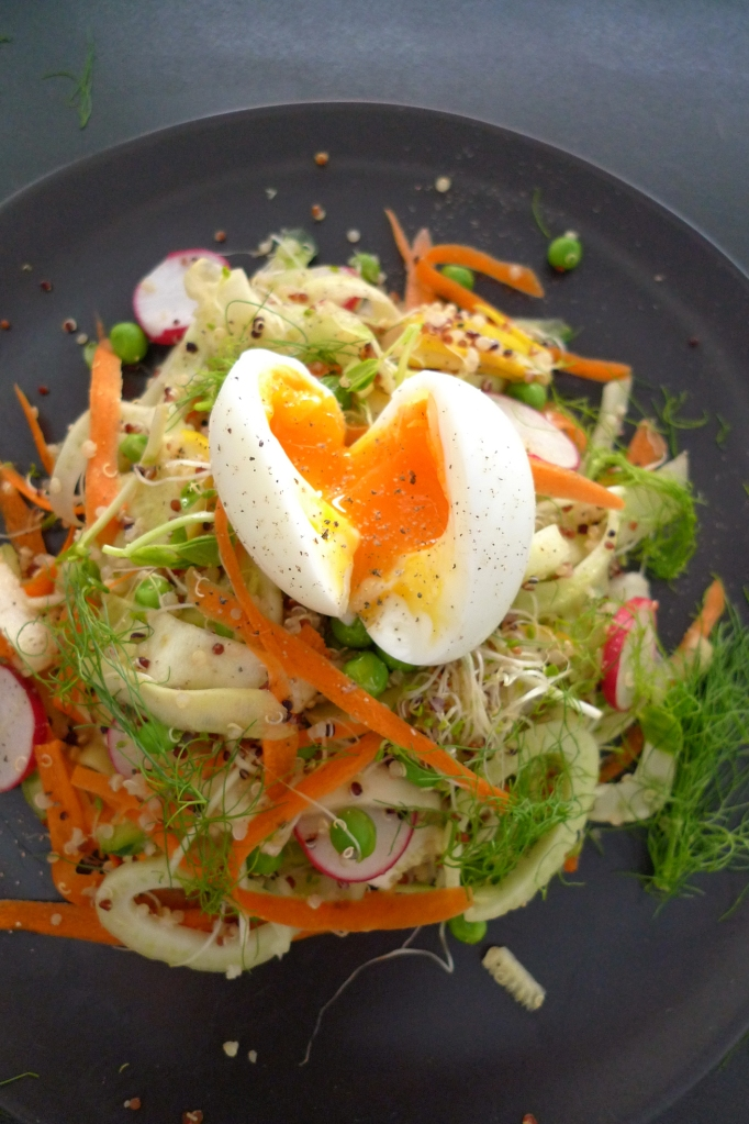 charlotte eats breakfast salad with egg