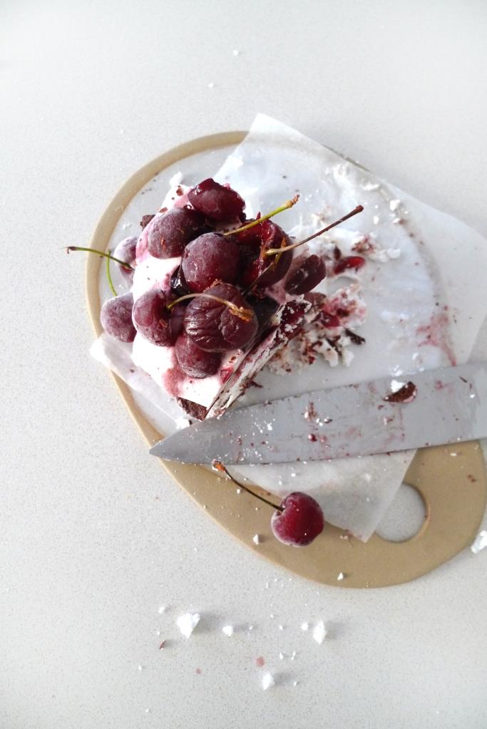 vegan chocolate and cherry meringue cake on charlotte eats