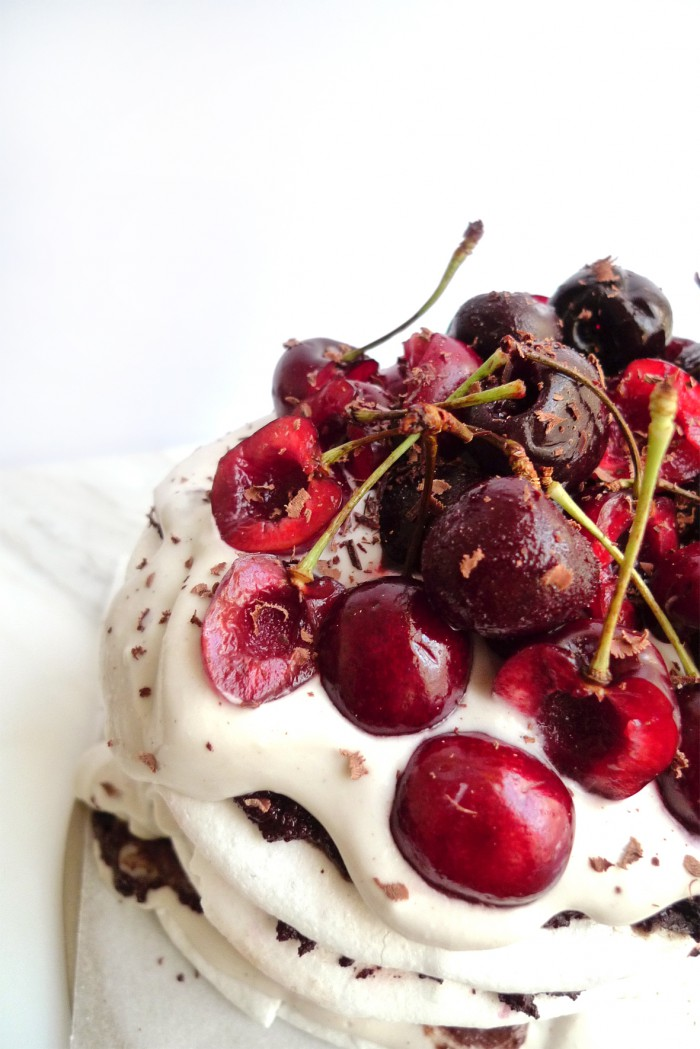 vegan chocolate and cherry meringue cake on charlotte eats